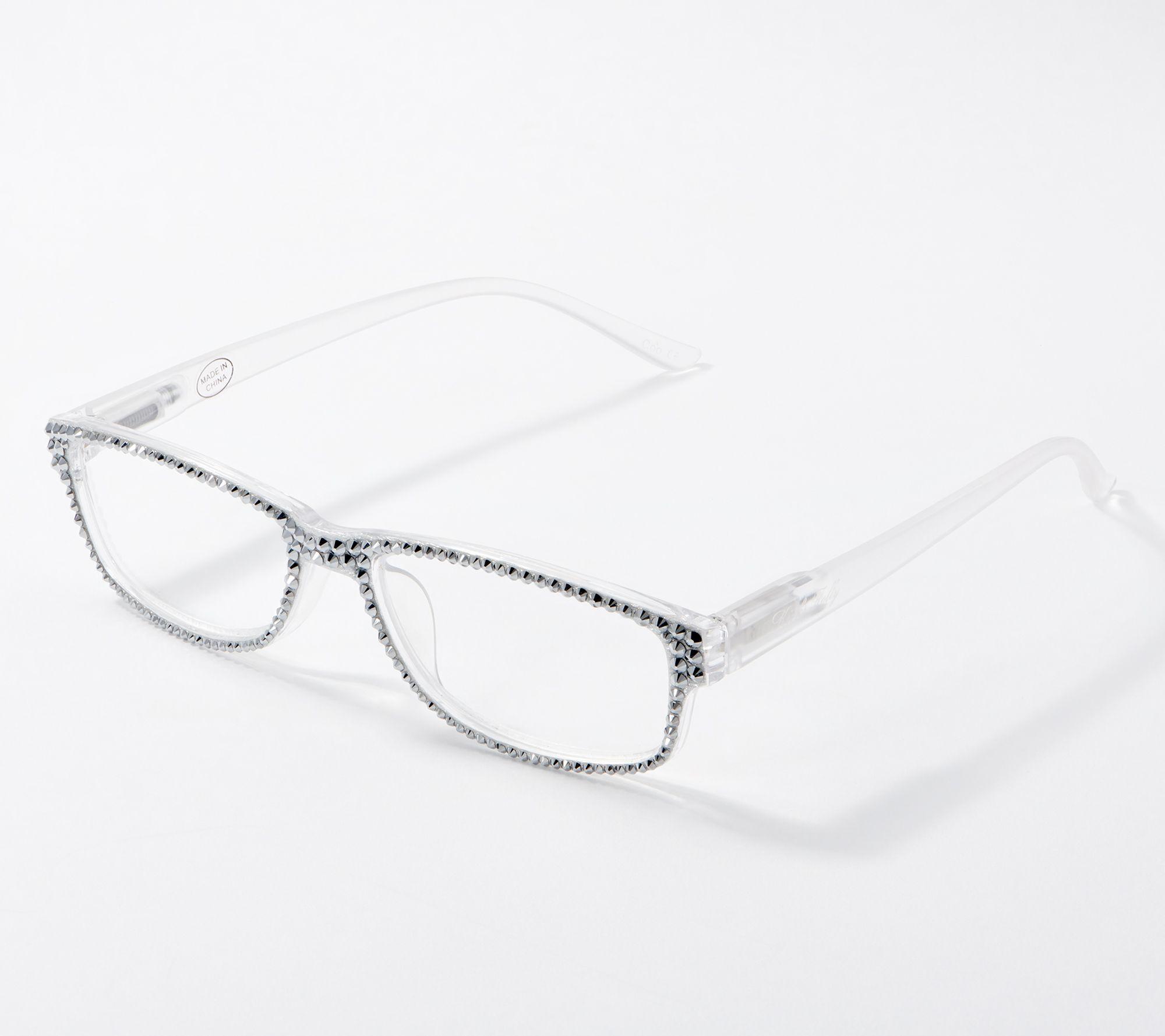 Hard Case Included Womens Designer Bifocal Sunglasses with Rhinestones