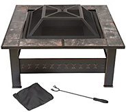 Pure Garden 32 Square Tile Fire Pit with Cover - H290758