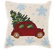Mina Victory Tree on Car Multicolor 18 x 18 Throw Pilllow - H301658