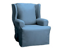 Sure Fit Cotton Duck Wing Chair Slipcover - H138959