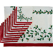 Lenox Holiday 60 x 120 Water Repel Tablecloth w/ 10 Napkins - H210459