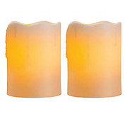 Candle Impressions Set of Two 4 Flameless Pillar Candles - H283959