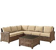 Crosley Bradenton 5-Pc Wicker Set w/ Chair Table & Cushions - H286659