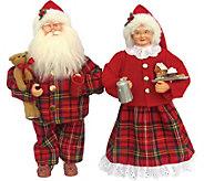 Set of (2) 15 Mr. and Mrs. Pajama Claus by Santas Workshop - H301159