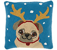 Mina Victory Festive Pug Multicolor 18 x 18 Throw Pillow - H301660