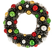 12 Bottlebrush Wreath with Ornaments and Glittered Accents - H209561