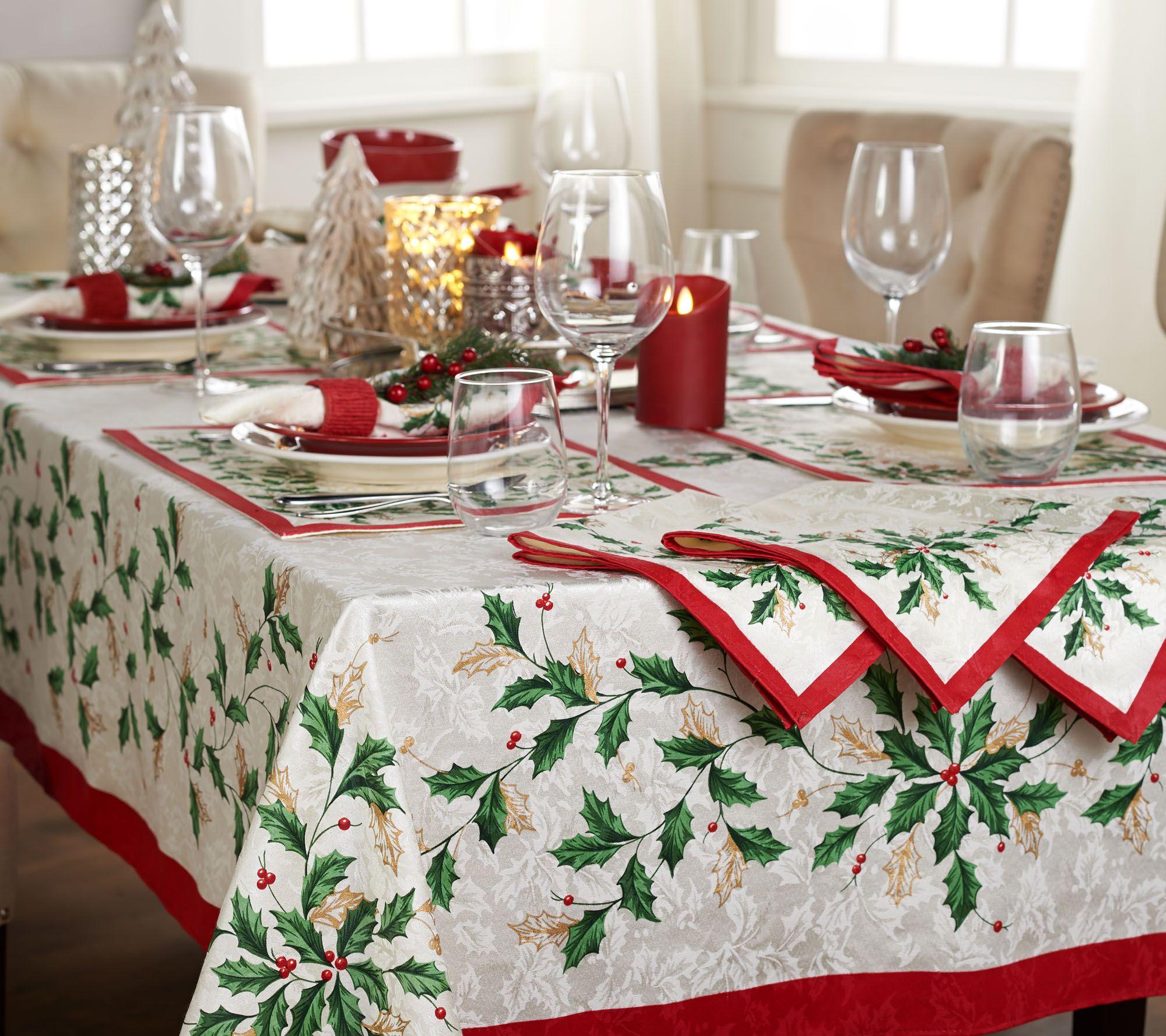 lenox holiday tablecloth and napkin set qvccom