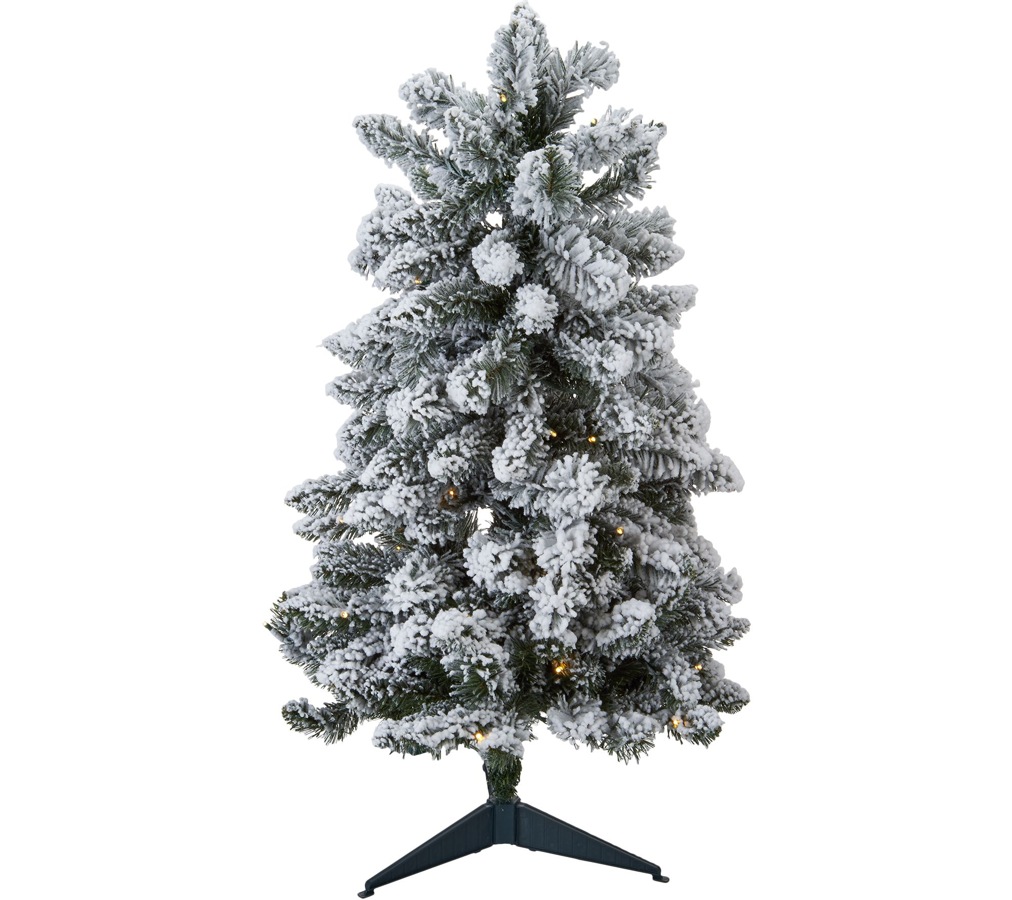 "Stake Christmas Trees: Bethlehem Lights Prelit 34"" Flocked Tree Stake"
