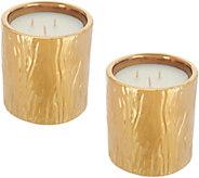 HomeWorx by Harry Slatkin Set of (2) 8-oz Faux Bois Ceramic Candles - H216061