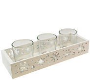 LumaBase Wooden Snowflake Candle Tray with 3 Glass Holders - H305761