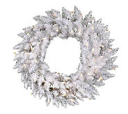 24 White Sparkle Spruce Wreath w/ LED - H364661