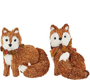 Set of 2 Sisal Fox Figures by