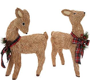 As Is Set of 2 Sisal Deer