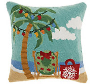 Mina Victory X-Mas Palm Tree Multicolor 18 x 18 Throw Pillow - H301662