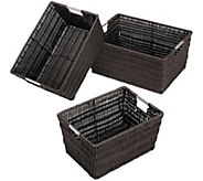 Whitmor Set of 3 Rattique Baskets Set - H303063