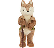 18 Sisal Fox Figurine with Green Vest & Walking Stick by Valerie - H214964