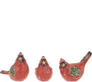 Set of 3 Cardinal Figurines with Holly Accents by Valerie - H215164