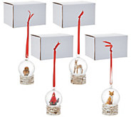 Plow and Hearth Set of 4 Snow Globe Ornaments in Gift Boxes - H215964