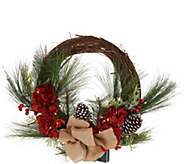 Scott Living Illuminated Floral Rattan Wreath - H216664