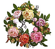20 Mixed Peony & Berry Wreath by Nearly Natural - H295564
