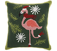 Mina Victory Xmas Flamingo Multicolor 18 x 18Throw Pillow - H301664