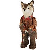 20 Fox Figurine with Orange Jacket & Walking Stick by Valerie - H214965