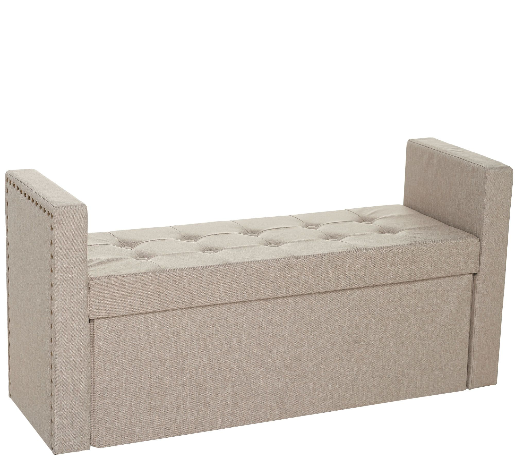Awesome Inspire Me Home Decor 45 Collapsible Storage Bench With Arms Qvc Com Machost Co Dining Chair Design Ideas Machostcouk