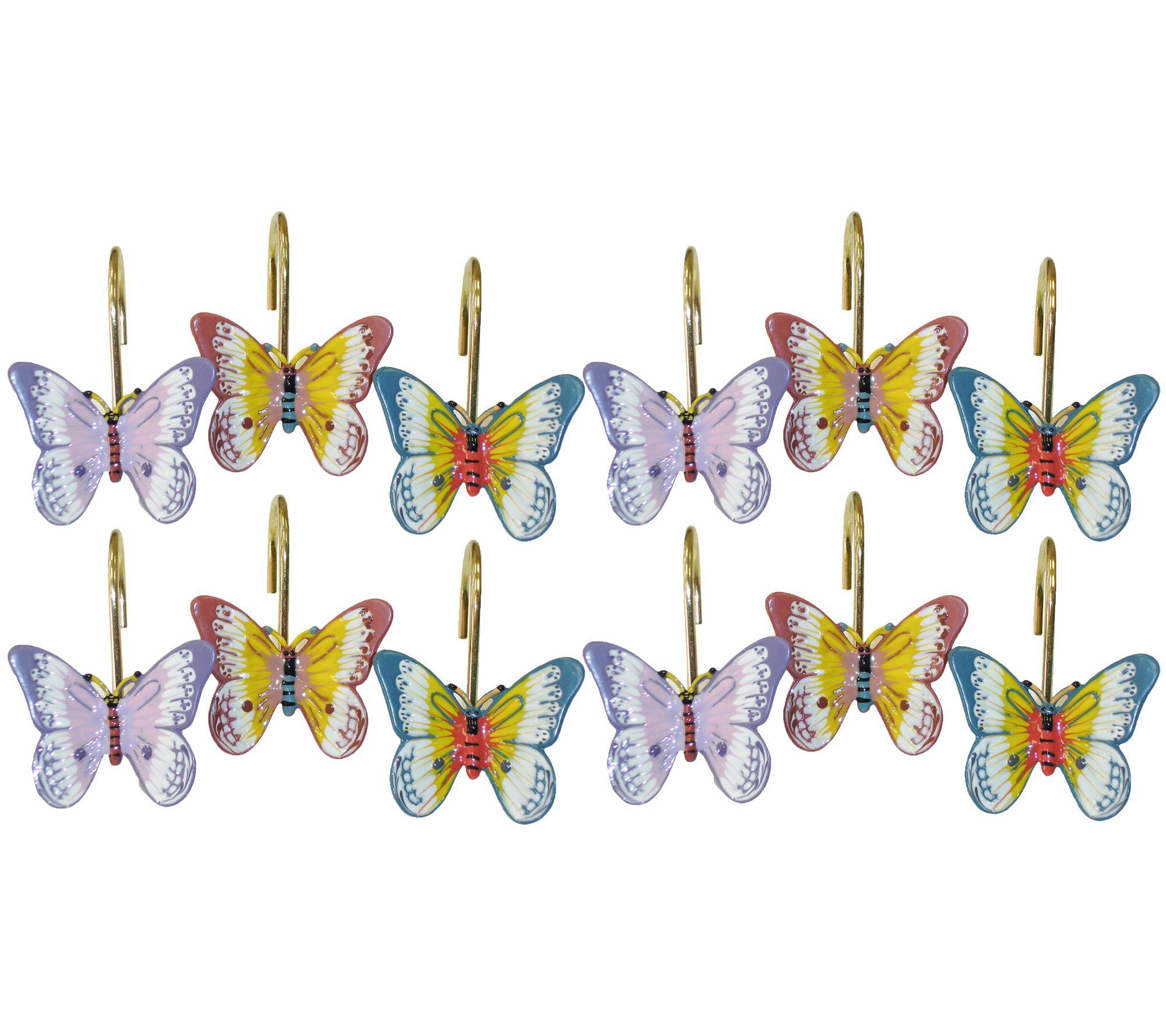 Lenox Butterfly Meadow Set Of 12 Shower Curtainhooks Qvc Com