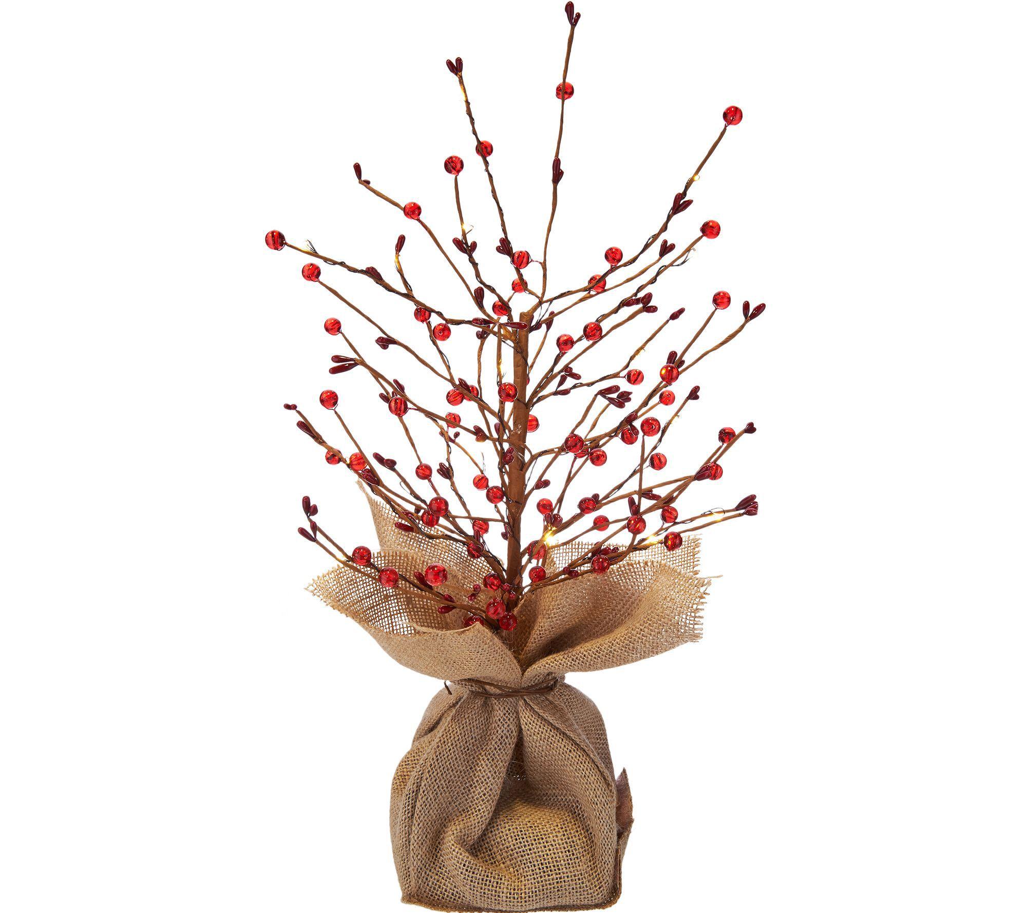 Christmas Branch Tree.Bethlehem Lights 18 Lit Beaded Berry Branch Tree W Burlap Base Qvc Com
