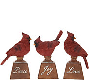 Set of 3 Joy, Peace, and Love Cardinals by Valerie - H215166