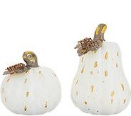 S/2 Graduated Gold Leaf Ceramic Pumpkins by Valerie - H216466