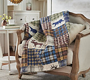 The Quilt Patch Lodge 50 x 70 Quilted Throw with Rod Pocket for Hanging - H214367