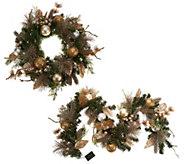 Casa Zeta-Jones Prelit 24 Holiday Wreath or Matching 6 Prelit Garland - H213968