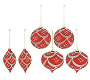 Set of 6 Satin Finish Beaded Ornaments by Valerie - H216868