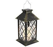 Lavish Home Solar Powered LED Lantern - PillarCandle Lamp - H310568