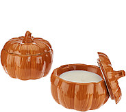 ED On Air Set of 2 Pumpkin Figural Candles by Ellen DeGeneres - H205969