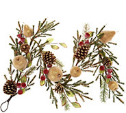4 Golden Glittered Beaded Fruit & Pinecone Garland - H211869