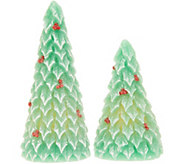 Candle Impressions Set of (2) 6 and 8 Holly Trees - H217469