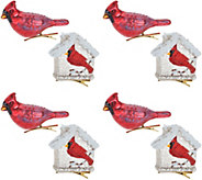 Set of 8 Mercury Glass Cardinal and Birdhouse Clips by Valerie - H211670