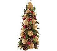 18 Golden Glittered Beaded Fruit & Pinecone Tree - H211870