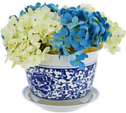 Dennis Basso Illuminated Vase with Faux Hydrangea Arrangement - H211171