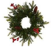 As Is Bethlehem Lights S/2 Mini Green Wreaths W/ Microlights - H218071