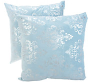 Casa Zeta-Jones Set of 2 Metallic Damask Micro Suede Pillows - H218171