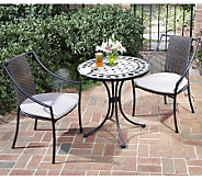 Home Styles Marble Bistro Table & 2 Laguna Slope Arm Chairs - H187372
