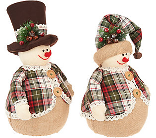 Set of 2 Snowmen with Hats and