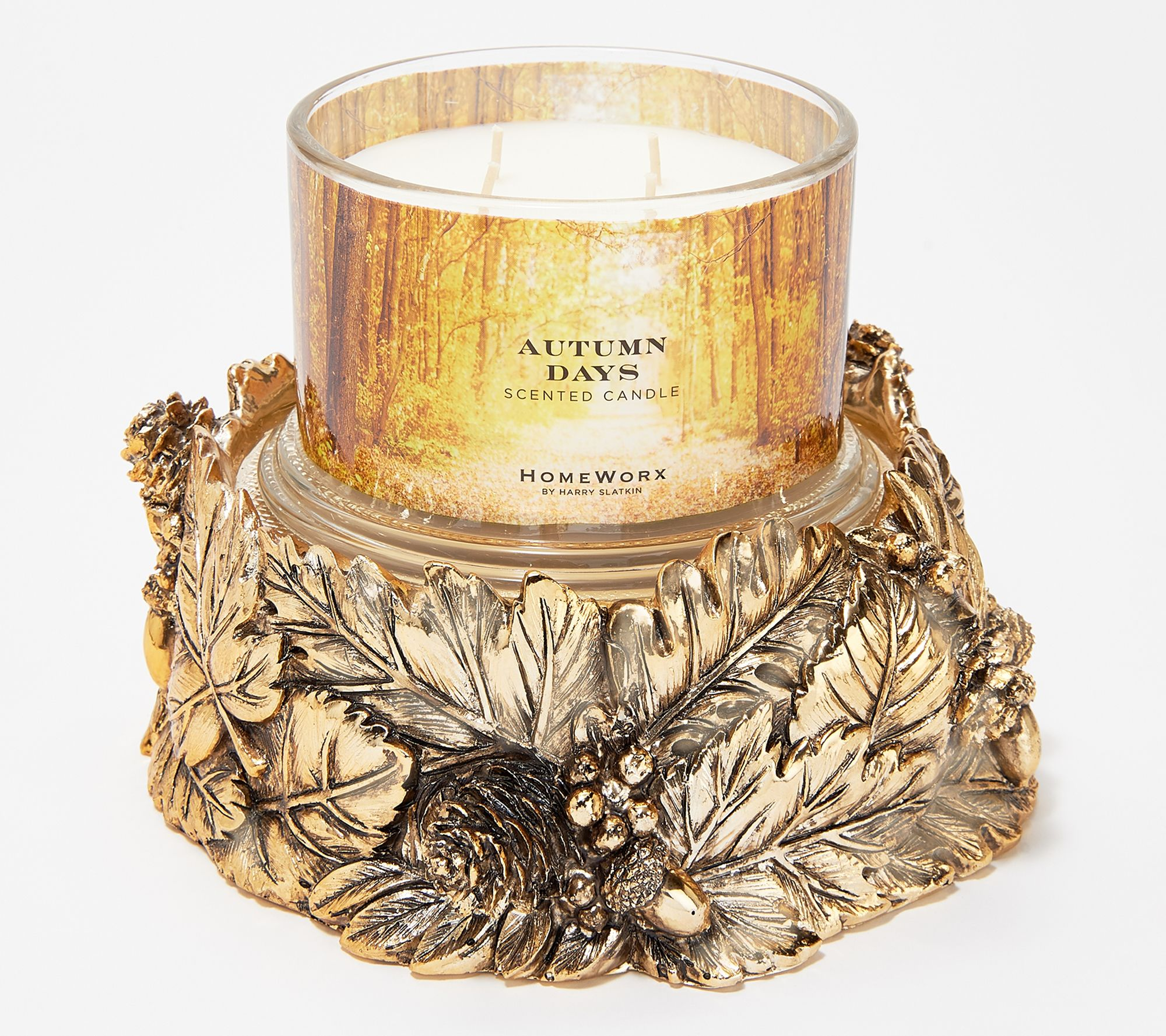 Cozy up your home with a fall foliage pedestal candle