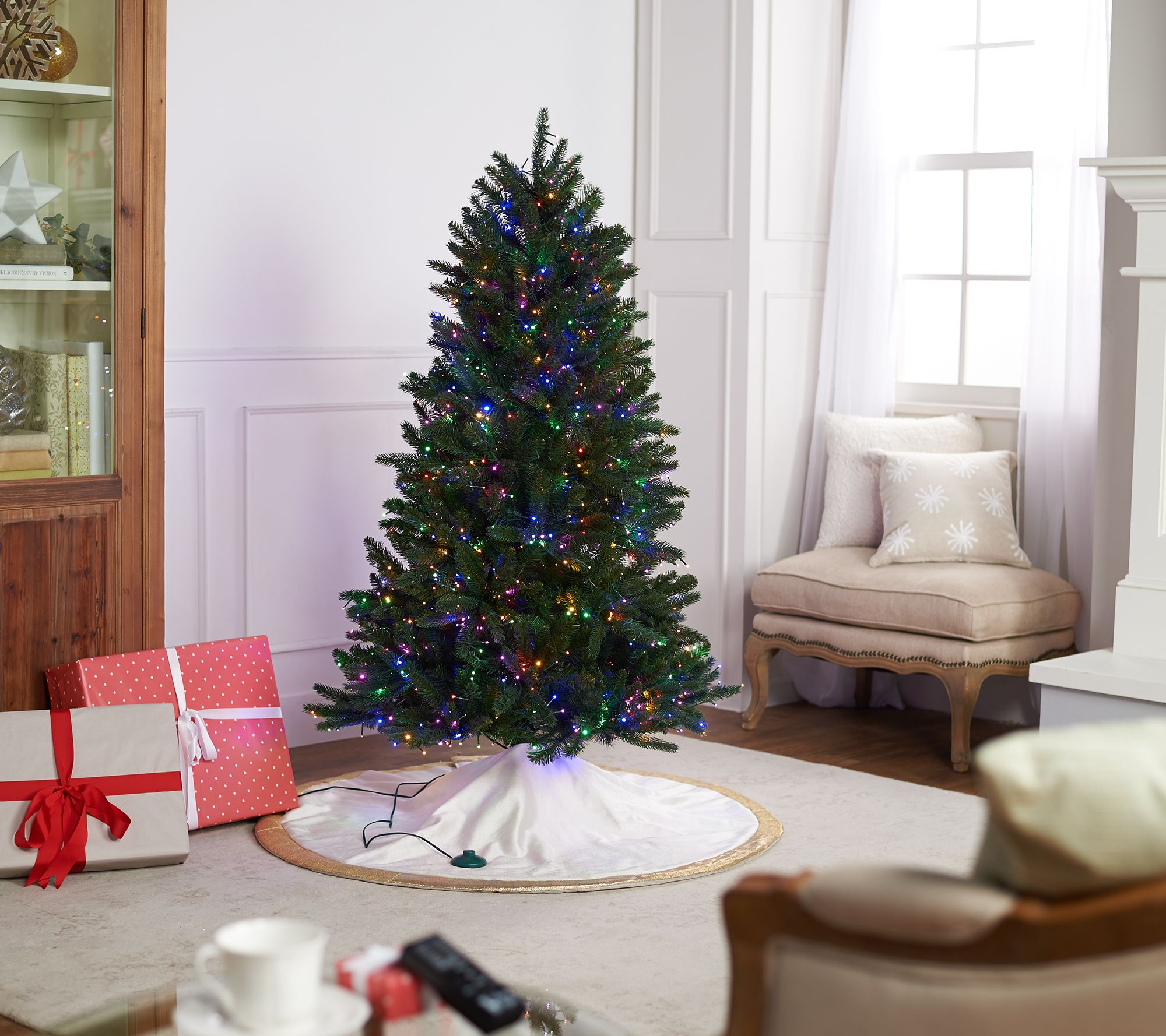 Santas Best Starry Light 5 Green Multi Function Microlight Tree Qvccom