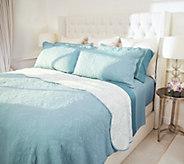 Casa Zeta-Jones Reversible Twin Cotton Coverlet Set w/ Scalloped Edge - H216073
