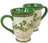Temp-tations Floral Lace Basketweave Set of (2)12-oz Mugs - H303273