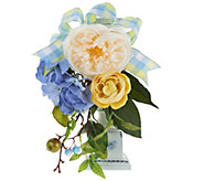 Hydrangea Berry and Rose Wreath Candlestick - H210874